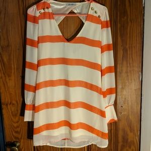 Orange and cream dress from New Zealand Boutique